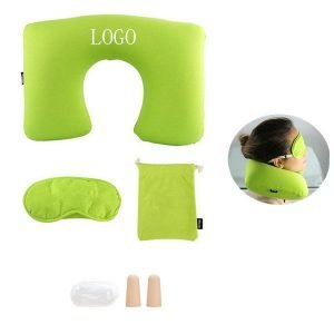 3in1 Inflatable Travel Pillow Eye Shade Mask Ear Plugs
